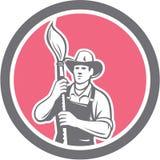 Pintor de casas Holding Paintbrush Circle retro stock de ilustración