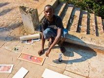 Pintor de la calle en Mozambique Imagen de archivo libre de regalías