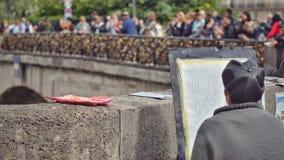 Pintor de la calle en París Fotografía de archivo libre de regalías