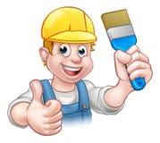 Pintor Decorator Holding Paintbrush ilustración del vector