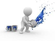 pintor del azul 3d Foto de archivo libre de regalías