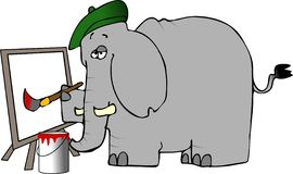 Pintor do elefante Imagem de Stock Royalty Free