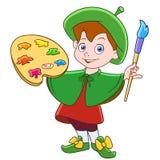 Pintor do menino dos desenhos animados com escova e paleta de cores ilustração stock