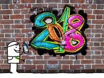 Pintor e grafittis frescos 2018 em uma parede ilustração stock