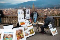 Pintor em Florença Fotografia de Stock Royalty Free