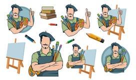Pintor feliz del artista, logotipo del pintor del artista ilustración del vector