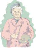Pintor mayor del artista de la mujer imagen de archivo