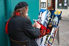 Pintor público no monte de Montmartre em Paris Foto de Stock