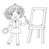 Pintor pequeno preto e branco ilustração do vetor