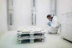 Pintor que usa el aerógrafo para pintar Imágenes de archivo libres de regalías