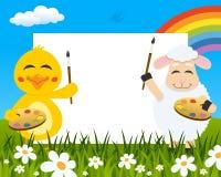 Pintores horizontales de Pascua - polluelo y cordero ilustración del vector