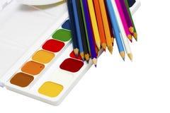 Pintores paleta e escova de pintura Imagem de Stock Royalty Free