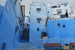 Pintoresque fläck av atmosfär för blått för Chefchaouen ` s Royaltyfri Foto