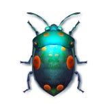 Pintou um besouro colorido brilhante em um fundo branco Fotografia de Stock Royalty Free