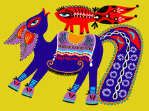 Pintura étnica tribal ucraniana, caballo inusual, Imagen de archivo libre de regalías