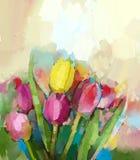 Pintura a óleo abstrata das flores das tulipas Fotos de Stock Royalty Free