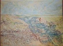 Pintura a óleo azul do impressionismo do rio do estuário ilustração stock
