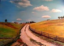 Pintura a óleo bonita do vilage Imagem de Stock Royalty Free