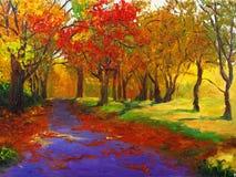 Pintura a óleo - bordo no outono ilustração stock