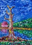 Pintura a óleo - campo abstrato Foto de Stock