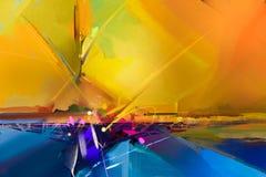 Pintura a óleo colorida abstrata na lona ilustração stock
