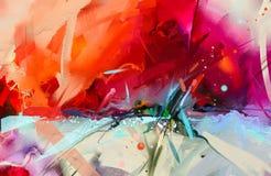 Pintura a óleo colorida abstrata na textura da lona ilustração stock