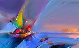 Pintura a óleo colorida na textura da lona Imagem abstrata Semi- de pinturas do seascape com fundo da luz solar ilustração stock
