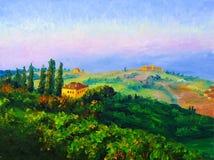 Pintura a óleo - crepúsculo Fotografia de Stock Royalty Free