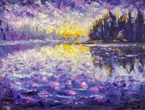 Pintura a óleo da faca de paleta do impressionismo na manhã da lona no rio Nascer do sol na água Por do sol sobre o rio Reflexão  ilustração stock