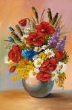 A pintura a óleo da mola floresce em um vaso na lona Sumário ilustração stock