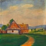 Pintura a óleo da paisagem do verão Imagens de Stock Royalty Free