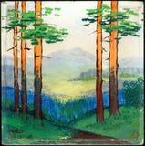 Pintura a óleo da paisagem do verão Imagem de Stock