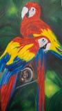 Pintura a óleo das araras ilustração do vetor