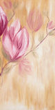 Pintura a óleo de flores da magnólia da mola Fotos de Stock