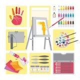 Pintura a óleo do â dos elementos da arte e do ofício Foto de Stock