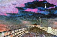 Pintura a óleo do cais Imagem de Stock Royalty Free