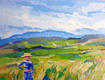 Pintura a óleo do fazendeiro do campo do arroz das grões do urso ilustração royalty free