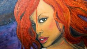 Pintura a óleo do retrato da mulher ilustração do vetor
