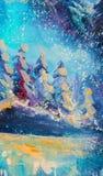 Pintura a óleo feericamente abstrata do original da floresta do inverno Abeto nevado grandes do impressionismo contra o fundo do  ilustração stock