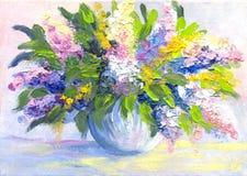 A pintura a óleo floresce o lilás Imagens de Stock Royalty Free