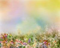 A pintura a óleo floresce a planta Cosmos roxo, margarida branca, centáurea, wildflower, flor do dente-de-leão nos campos Fotografia de Stock Royalty Free