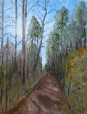 Pintura a óleo impressionista da floresta Fotografia de Stock Royalty Free