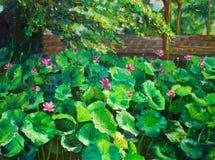 Pintura a óleo - lótus Imagens de Stock Royalty Free