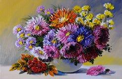 Pintura a óleo na lona - ainda a vida floresce na tabela, trabalho de arte ilustração do vetor