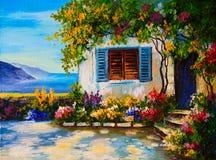 Pintura a óleo na lona do casas bonitas perto do mar ilustração royalty free
