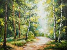 Pintura a óleo na lona - floresta do verão ilustração stock