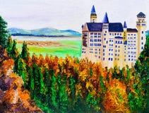 Pintura a óleo - Neuschwanstein, Alemanha Fotos de Stock Royalty Free