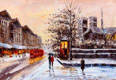 Pintura a óleo - opinião da rua de Londres Fotografia de Stock