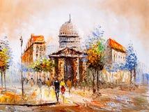 Pintura a óleo - opinião da rua de Paris Imagens de Stock Royalty Free