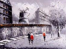 Pintura a óleo - opinião da rua de Paris Foto de Stock